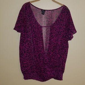 Torrid purple/hot pink animal print blouse